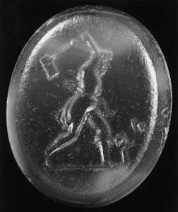 Gemma con una representación del personaje Lycurgus, bebedor de cerveza, talando las viñas